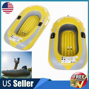 1 2 Person Fishing Boat Inflatable Storage Portable Camouflage Rowing Raft Canoe
