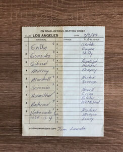 L.A. DODGERS Game Used Line Up Card July 9 1989 Tommy Lasorda Autographed