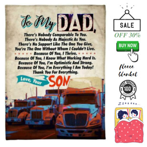 To My Dad Blanket Dad Truck Print Blanket From Son Love Dad Birthday Gift $49.99