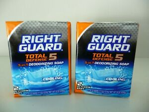 TWO Right Guard Total Defense 5 5 in 1 Deodorizing Soap Cooling FOUR 4 oz RARE $39.90