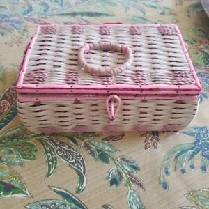 Vintage Mid Century Modern Dritz Sewing Basket Made Japan Pink Woven Sectioned $44.95