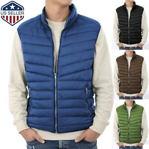 Mens Puffer Vest Jacket Bubble Coat Quilted Padded Outwear Winter Light Weight $22.99