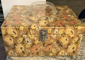 Vintage Sewing Box Quilted Lucite Handle Floral Design Mid Century 1960 70#x27;s EUC $22.50