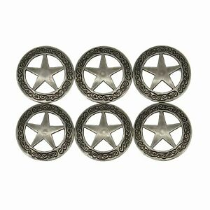 112 Western Engraved Star Concho for Leather with 039 Screw Back Set of 6