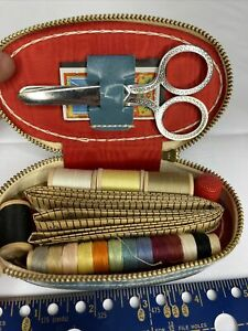 Vintage Sewing Kit Travel Size Leather Case $19.99