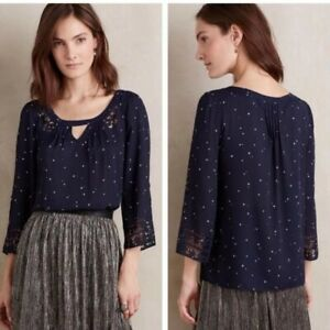 Anthropologie Maeve Star Print Laser Cut Blouse Navy White Womens Size 12 $88 $29.99