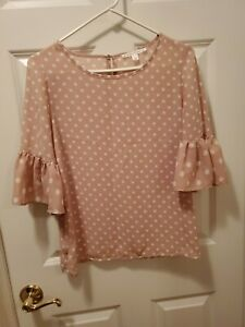 Violet Claire Pink With White Polka Dots Blouse Size S