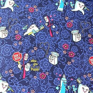 Dental Human Tooth Don#x27;t Rush Floral Navy Apparel Sewing Cotton Woven Fabric AU $14.55