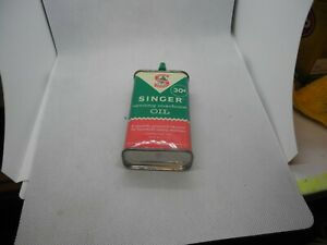 VINTAGE 30¢ 4 OZ SINGER SEWING MACHINE OIL CAN EXCELLENT CONDITION $11.99