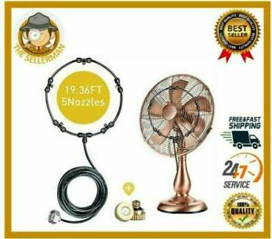 Outdoor Fan Misting Cooling System Kit Cool Patio Breeze Water Mister Spray