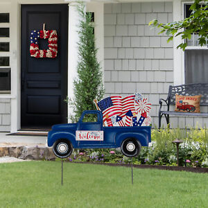 Glitzhome 24quot;L Metal American Flag Truck Welcome Yard Stake July 4th Wall Decor $17.99