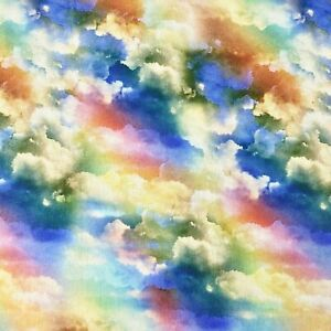 Rainbow Clouds Landscape Sewing Cotton Fabric 1 2 Yard $10.13