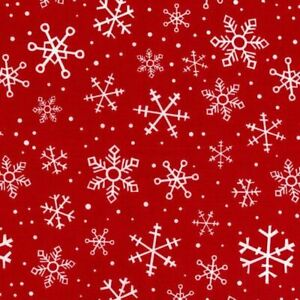 Christmas Holiday Snowflake Red Sewing Cotton RTC Fabric $10.13