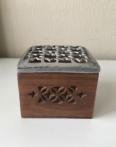 Wooden box with metal open cut top small brown wood GBP 14.99