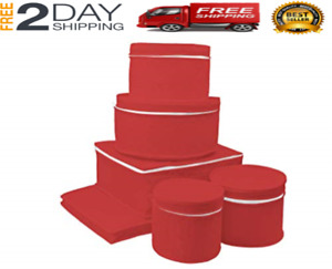 China Storage Set 6 Box Quilted Cases Dinnerware Keepers Fine Containers NEW