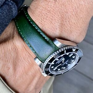 20mm GREEN Calfskin leather curved fitted Band Strap Rolex SUBMARINER GMT $69.99