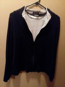 Ladies 2 piece Jacket and Tank Softwear by Mark Singer Large Navy Blue White $12.99