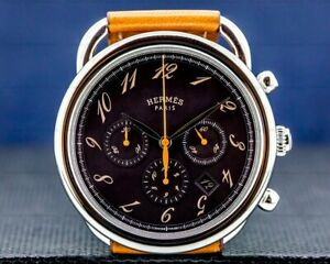 Hermes Arceau Chronograph SS Brown Dial BOX PAPERS