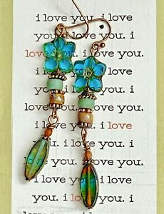 Long Etched Copper Earrings with Teal Flower and Earthy Bead Earrings. Boho $7.99