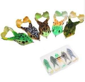 Fishing Soft Frog Lure Topwater Fishing Ribbet Frogs Set 3.5in 0.46oz Double