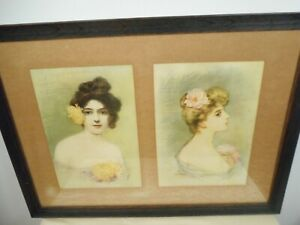 BELLA GROSS ANTIQUE COLORED FRAMED amp; SIGNED LITHOGRAPHS TURN OF CENTURY WOMEN $29.99