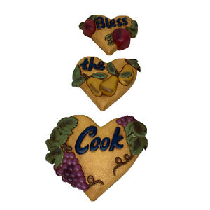 3 Home Interiors Wall Haning Bless The Cook Heart Shape Fruits 2003