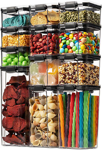 12 Pack Airtight Food Storage Container Kitchen And Pantry Organization Clear