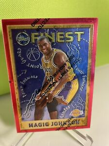 1995 1996 Topps Finest Magic Johnson Finest Red Border W Coating #252 Lakers $4.97