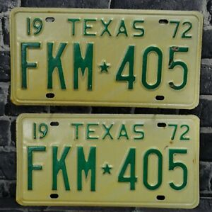 1972 Texas License Plate Matched Pair YOM Clear Never Registered Set FKM 405 NOS