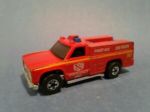 Vintage Hot Wheels 1974 Rescue Vehicle Emergency Unit 50 First Aid Fire Truck