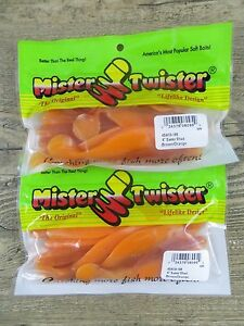 2 PACKAGES 4quot; MISTER TWISTER SASSY SHAD BROWN ORANGE COLOR BASS WALLEYE