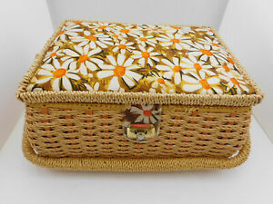 Vintage AZAR? Woven Wicker Sewing Basket Box White Daisy Floral Fabric $18.20