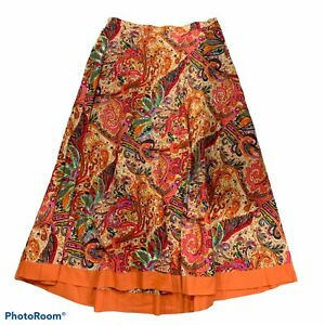 Coldwater Creek Sequin Floral Solid Trim Flat Front Midi Skirt Women's Size Lg $32.00