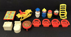 Fisher Price Little People Motorcycle Camping Figures and Accessories Vintage