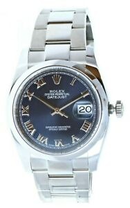 New Old Stock Rolex New Datejust 36mm 116200 Steel Blue Roman Dial Box amp; Papers