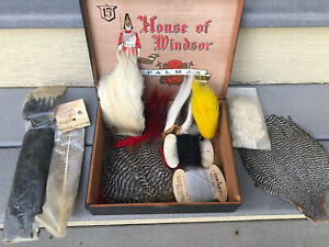 Vintage Lot of Fly Tying Materials Fishing Supplies Feathers Furs amp; Vise