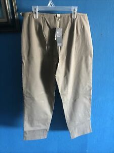 Eileen Fisher Brown Organic Cotton Stretchy Twill Slim Ankle Side Zip Pant NEW M