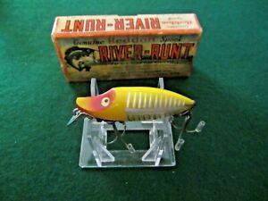 Vintage fishing lure Heddon River Runt Sinker xry boxed with catalog