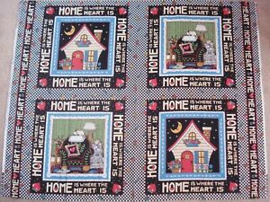 Mary Engelbreit 4 Block Fabric Panel HOME IS WHERE THE HEART IS