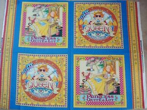 Mary Engelbreit 4 Block Fabric Panel ITS GOOD TO BE QUEEN