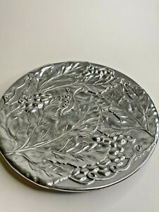 Wilton Armetale Holloware Grape Pattern Serving Plate 11 Pewter Made in USA $34.95