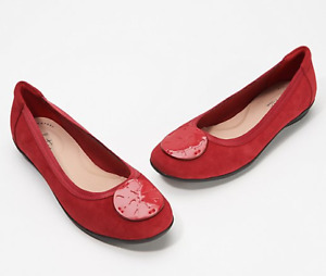 Clarks Collection Suede Flats Gracelin Zone Red $32.99