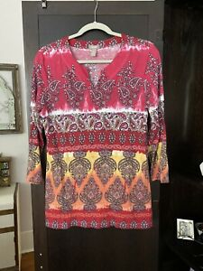 Chicos Top 3 4 Sleeve Cotton Size 1 Excellent Condition. $9.90