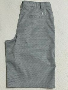 Under Armour Golf Shorts Youth Boys 18 gray geo pockets flat front button zip $22.00