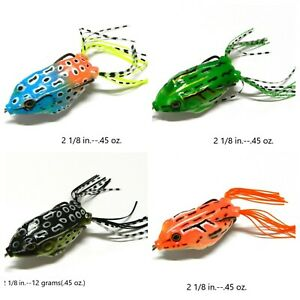 4 pc. TOPWATER Frogs Snagless amp; Weedless Nice variety of colors F6453