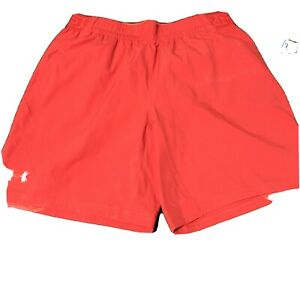 under armour shorts large mens Size L red Orange Heat Gear Man Bright fitted $28.88