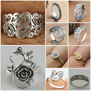 Handmade Fashion Flower Ring 925 Silver Plated Jewelry Women Wedding Party Rings C $2.22