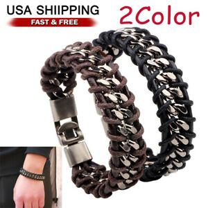 Braided Leather Silver Stainless Steel Cuban Chain Mens Bracelet Bangle $7.58