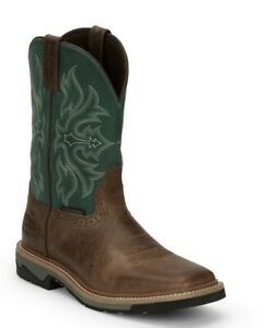 Justin Boots Stampede Mens Square Toe T Bone Green Shadow Tan Boots SE4104