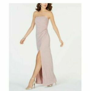ADRIANNA PAPELL Pink Strapless Dress Sz 12 Silver Embellished Lurex Evening Gown $76.00